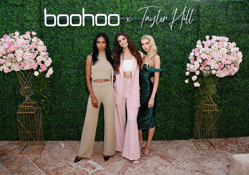 taylor hill x boohoo, boohoo fall 2019, MALIBU, CALIFORNIA - OCTOBER 13: (L-R) Jasmine Tookes, Taylor Hill and Stella Maxwell attend boohoo x Taylor Hill Tea Party at The Beverly Hills Hotel on October 13, 2019 in Beverly Hills, California. (Photo by Presley Ann/Getty Images for boohoo.com)