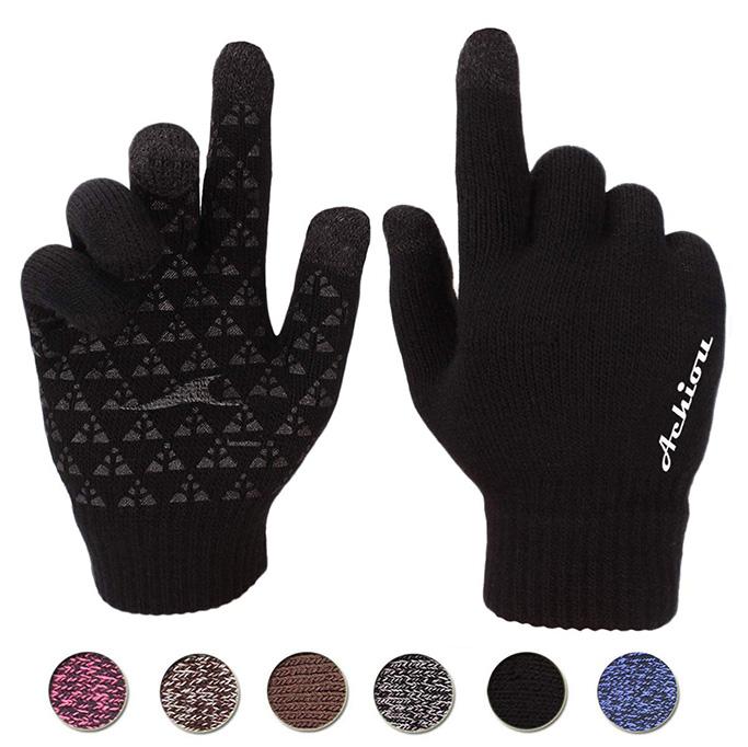 Achiou Winter Knit Gloves, anti slip, best texting