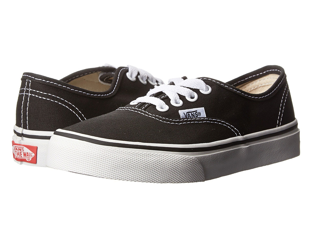 Vans Authentic sneaker, 4 eye, 4 eyelets, big kid size, black and white