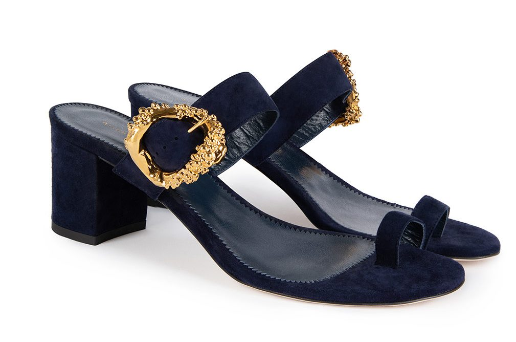 Alighieri Night Cap sandal: the navy calf suede recalls the dark forest within Dante's poem and the molded buckle, the power of transformation.
