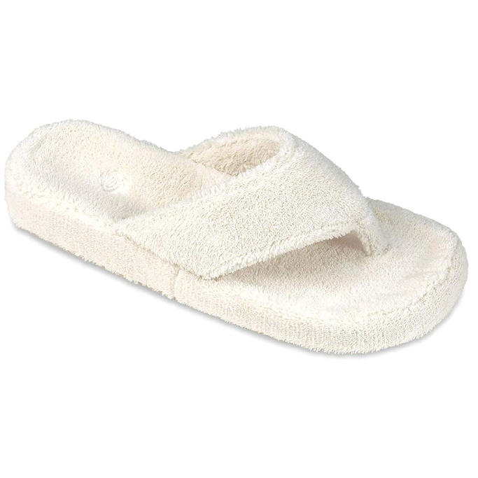 acorn spa thong slipper with memory foam