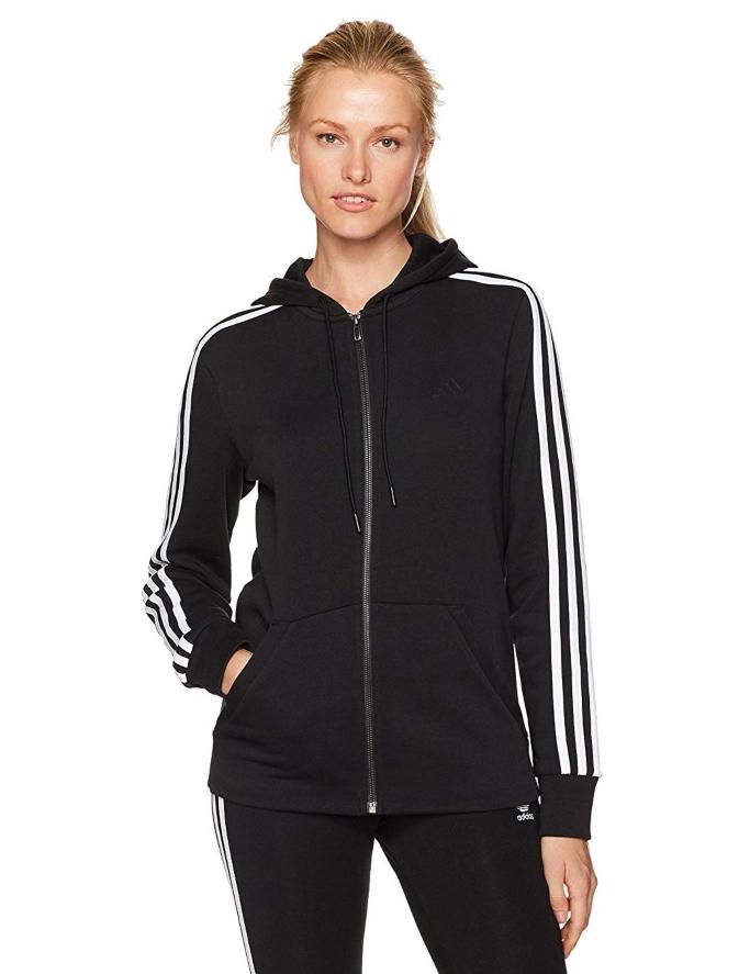 adidas 3-stripe zip-up hoodie