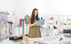 young fashion designer in her workshop