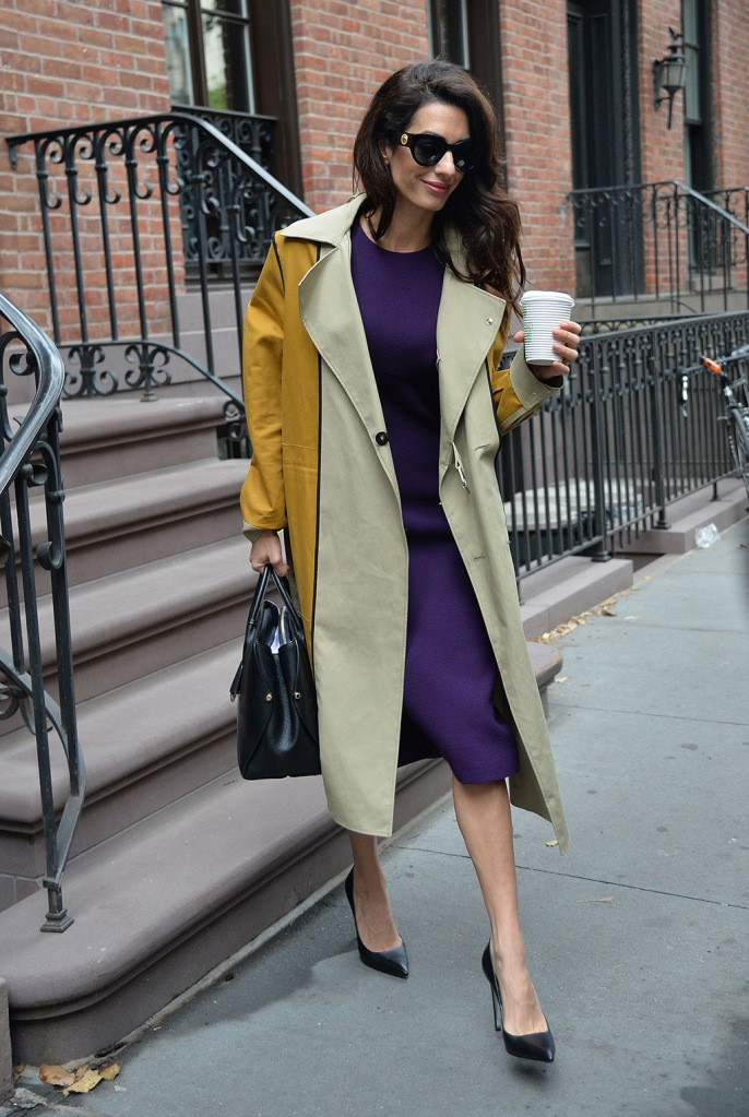 Amal Clooney, power pumps, stilettos, trench coat, purple dress, purse, sunglasses, Amal Clooney out and about, New York, USA - 01 Oct 2019