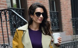 Amal Clooney, celebrity style, sunglasses, trench