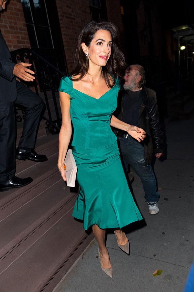 Amal Clooney, street style, nyc, shoe styles, gray pumps, suede pumps, stilettos, New York city, Zac Posen, skirt, shirt, celebrity style