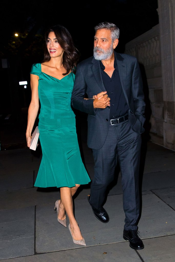 Amal, George Clooney, teal outfit, zac posen, skirt, shirt, gray pumps, suede pumps, high heels, George clooney, date night, New York city