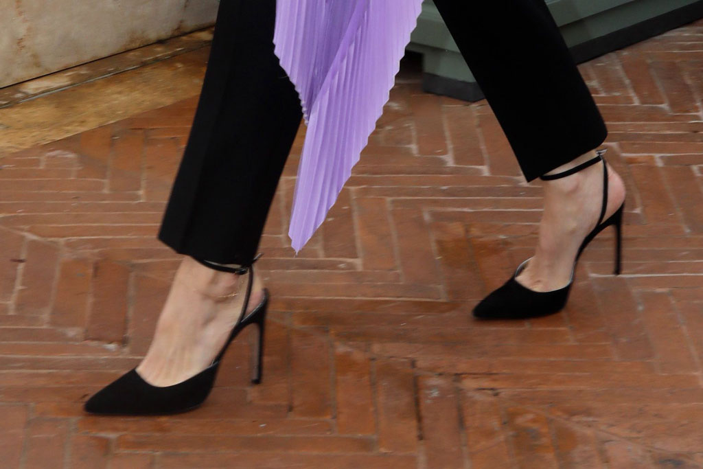 Angelina Jolie, shoe detail, feet, celebrity shoe style, 'Maleficent - Mistress Of Evil' film photocall, Rome, Italy - 07 Oct 2019Wearing Givenchy Same Outfit as catwalk model *10068443am