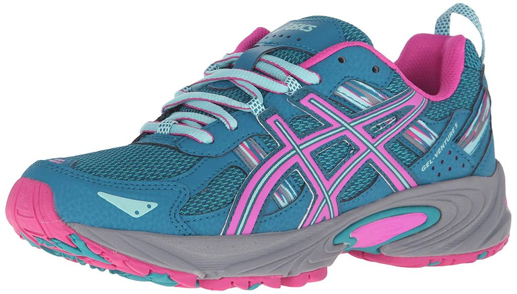 asics sneakers, Asics Women's Gel-Venture 5 running shoe, pink and blue, wide running shoes