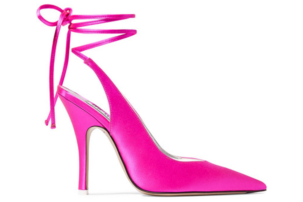 The Attico, monia, satin shoes, pink pumps, stilettos, high heels