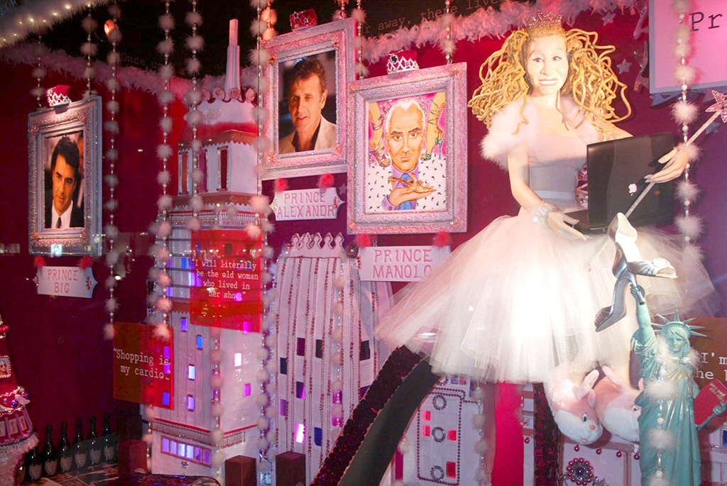 "A holiday window display at Barneys in 2003 depicting a scene from ""Sex and the City,"" barneys history, carrie bradshaw nyc"