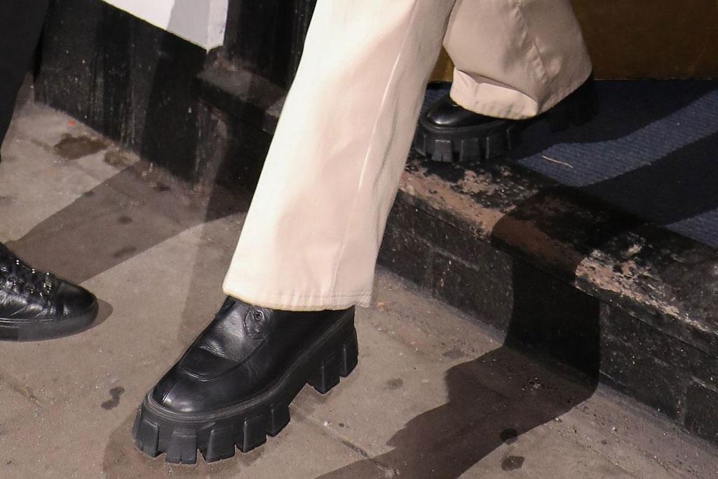 Bella Hadid, prada, combat boots, khaki pants, celebrity style, street style, london, united kingdom