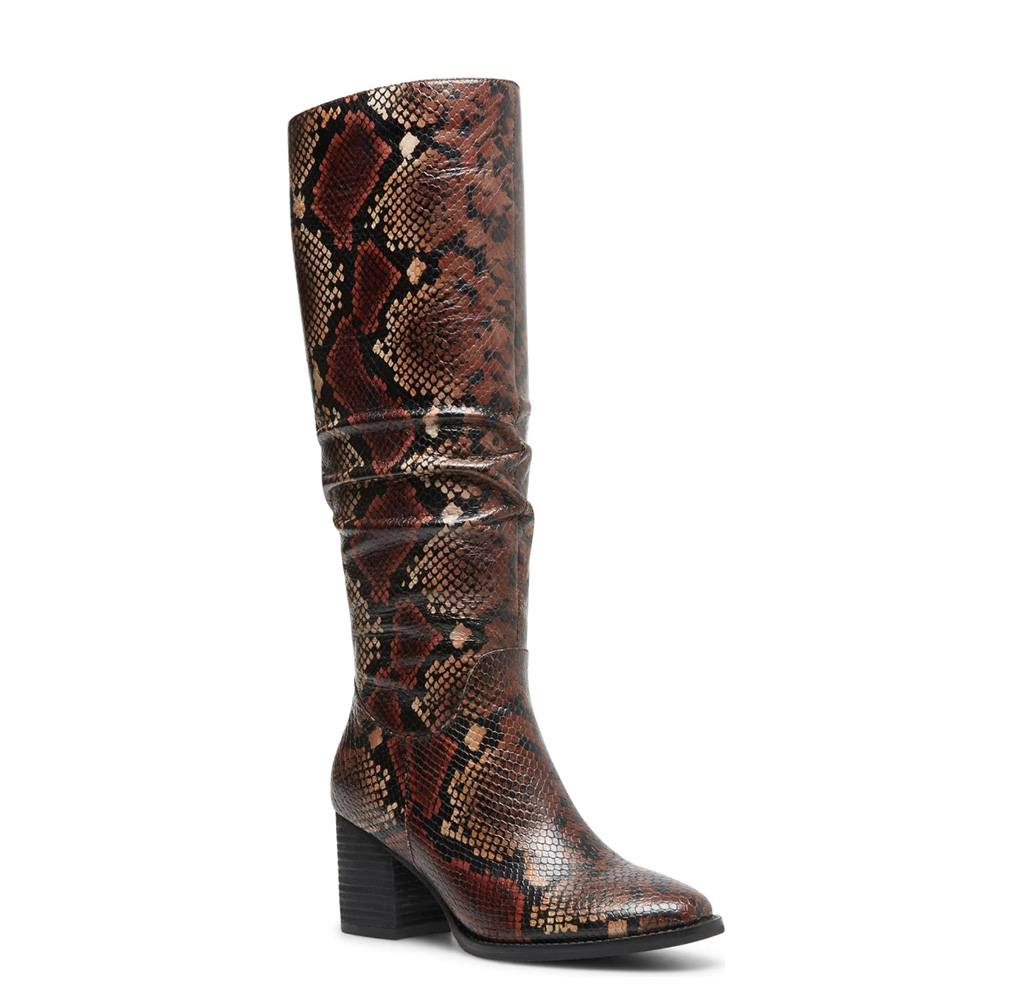 Nadeen Waterproof Knee High Boot, snakeskin boot, brown boot