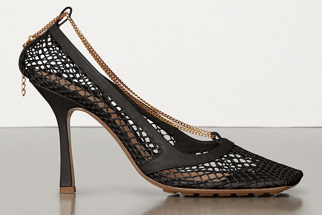 Bottega Veneta, mesh pumps, square toes, black stilettos