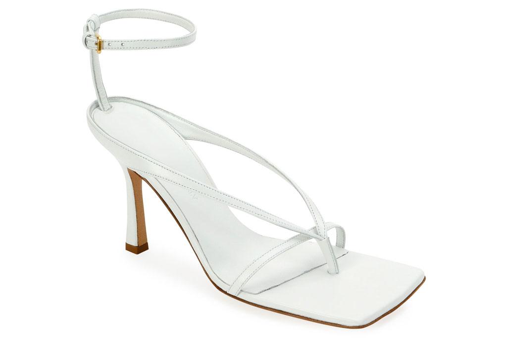 Bottega Veneta, white sandals, heeled thong sandals, square toe