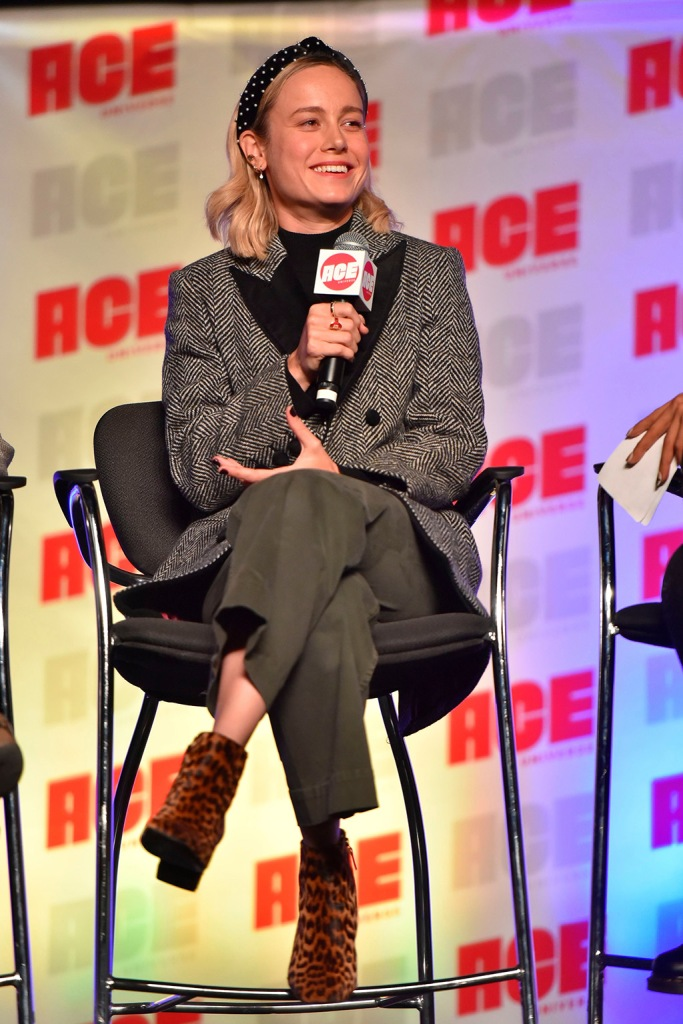 Brie Larson, leopard print booties, celebrity style, olive green pants, black and white jacket, headband, participates during a Q&A panel on day two at the Ace Comic-Con at the Donald E Stephens Convention Center, in Rosemont, Ill2019 Ace Comic-Con - Day 2, Rosemont, USA - 12 Oct 2019Brie Larson participates during a Q&A panel on day two at the Ace Comic-Con at the Donald E Stephens Convention Center, in Rosemont, Ill2019 Ace Comic-Con - Day 2, Rosemont, USA - 12 Oct 2019