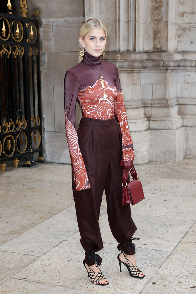 Caroline DaurStella McCartney show, ankle strap heels over pants, Arrivals, Spring Summer 2020, Paris Fashion Week, France - 30 Sep 2019