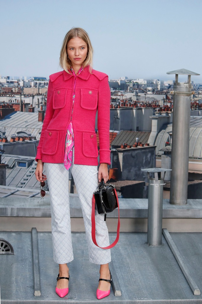 Sasha Luss, hot pink, jacket, pants, pointy-toed flats, Model Sasha Luss poses for photographers as she arrives for the Chanel Ready To Wear Spring-Summer 2020 collection, unveiled during the fashion week, in ParisFashion S/S 2020 Chanel Arrival, Paris, France - 01 Oct 2019