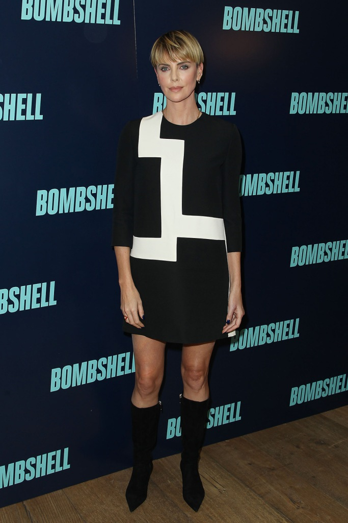 Charlize Theron, celebrity style, legs, minidress, mid-calf boots, black boots, New York Special Screening of Bombshell, USA - 20 Oct 2019