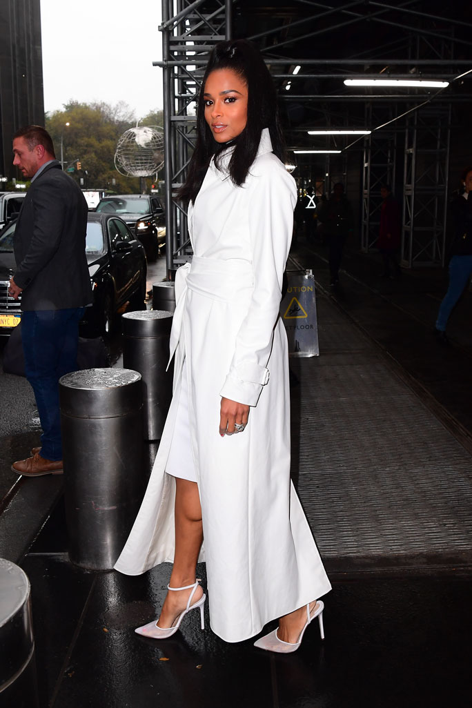 Ciara, white dress, jacket, mesh pumps, andrea wazen shoes, celebrity style, nyc, the today show, today,