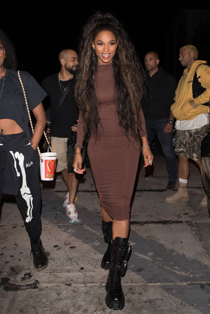 Ciara, brown dress, bodysuit, skirt, naked wardrobe, celebrity style, street style, los angeles, la, combat boots, prada shoes, is seen in high spirit as she is seen arriving to dinner at Catch. 21 Oct 2019 Pictured: Ciara. Photo credit: iamKevinWong.com / MEGA TheMegaAgency.com +1 888 505 6342 (Mega Agency TagID: MEGA532411_001.jpg) [Photo via Mega Agency]
