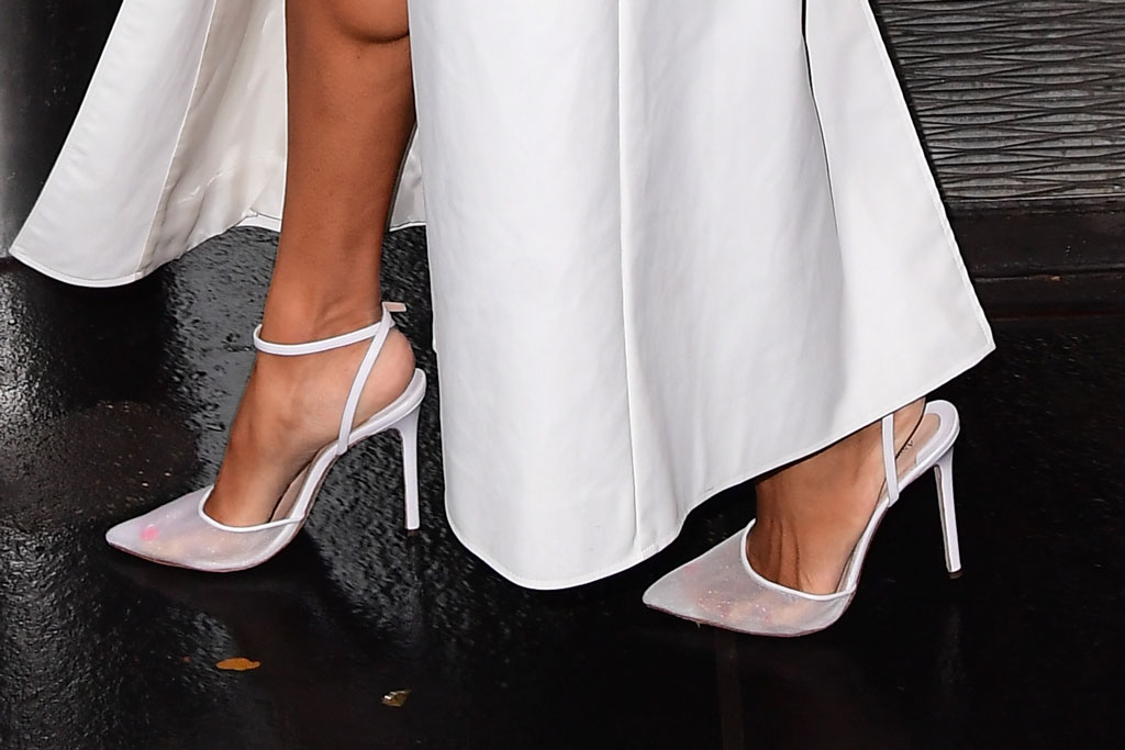 Ciara, andrea wazen, mesh pumps, white shoes, toes, see-through shoes, feet, celebrity style, legs, nyc, the today show, today, new york