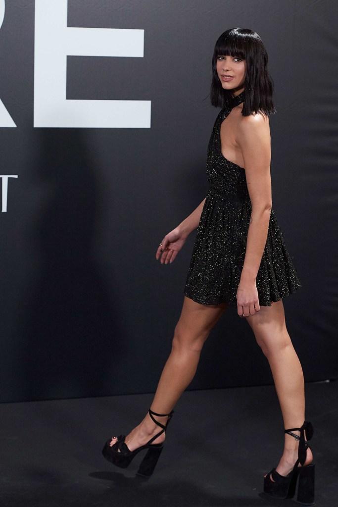 Dua LipaDua Lipa presents Yves Saint Laurent 'Libre' Fragrance Party, Madrid, Spain - 30 Sep 2019Wearing Saint Laurent, sequined minidress, celebrity style, legs, platform sandals, YSL, Paige sandals,