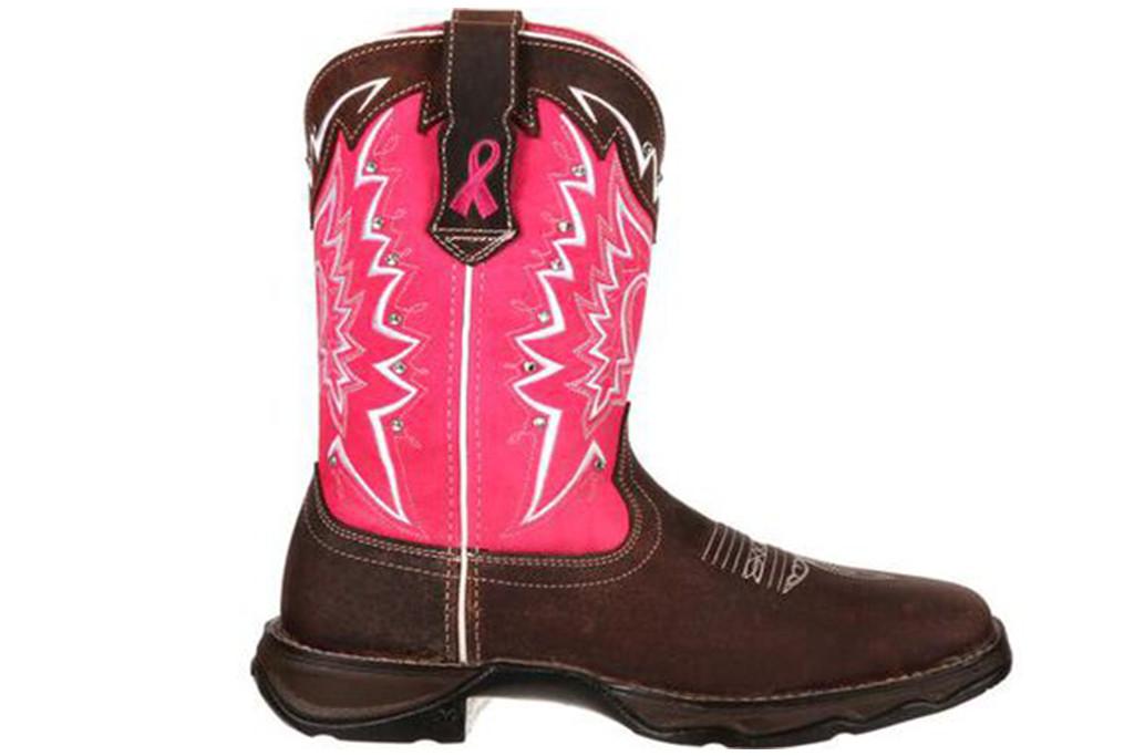 durango boots, bca awareness month shoes, pink cowboy boots