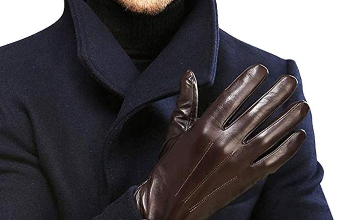 elma mens gloves, brown leather