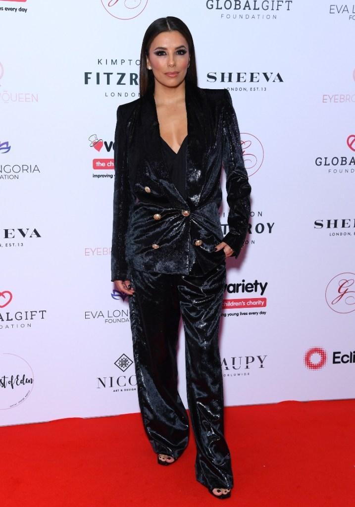 eva longoria, global gift gala, london, sparkly suit