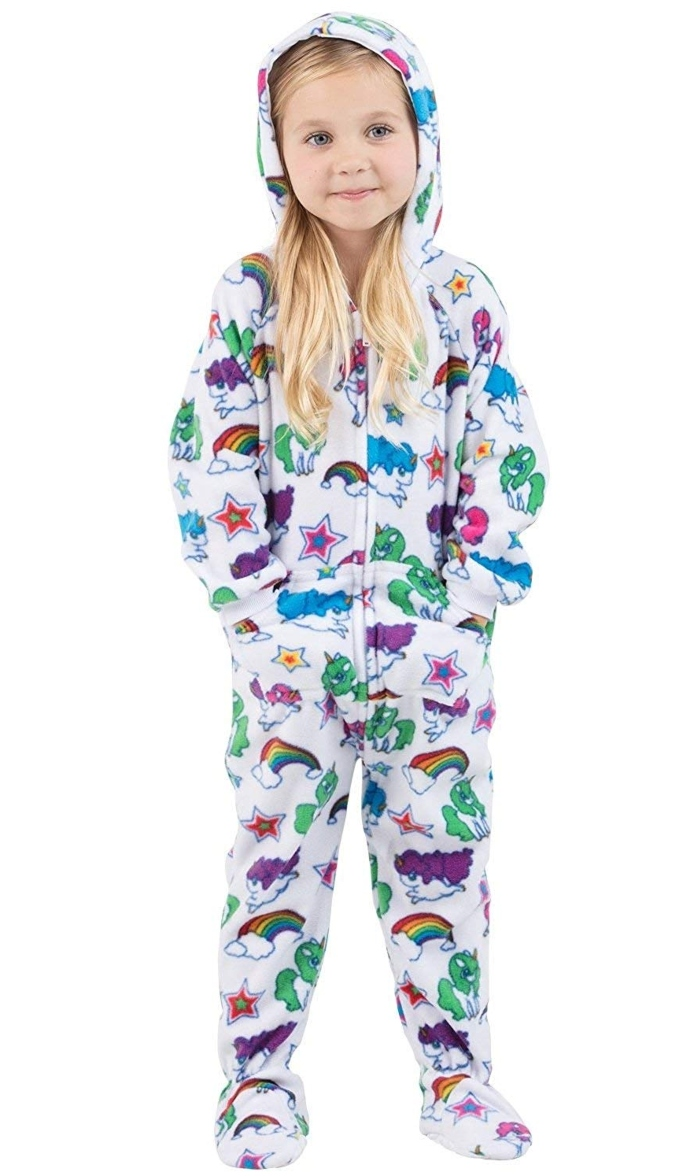 Footed Pajamas Unicorns Hoodie Onesie