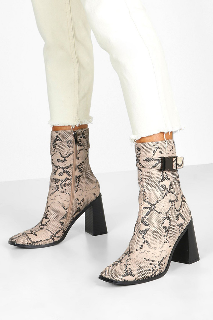 boohoo boots, shoes, snakeskin boots