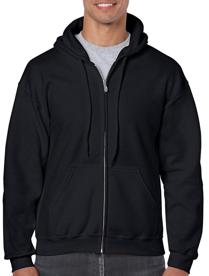 gildan men's fleece zip up hoodie