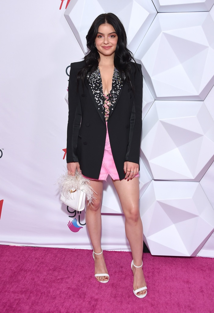 Ariel Winter, white sandals, pink miniskirt, black blazer with embellishment, legs, pedicure, white purse, floral shirt, cleavage, 2nd Annual Girl Up GirlHero Awards, Arrivals, Beverly Wilshire, Los Angeles, USA - 13 Oct 2019