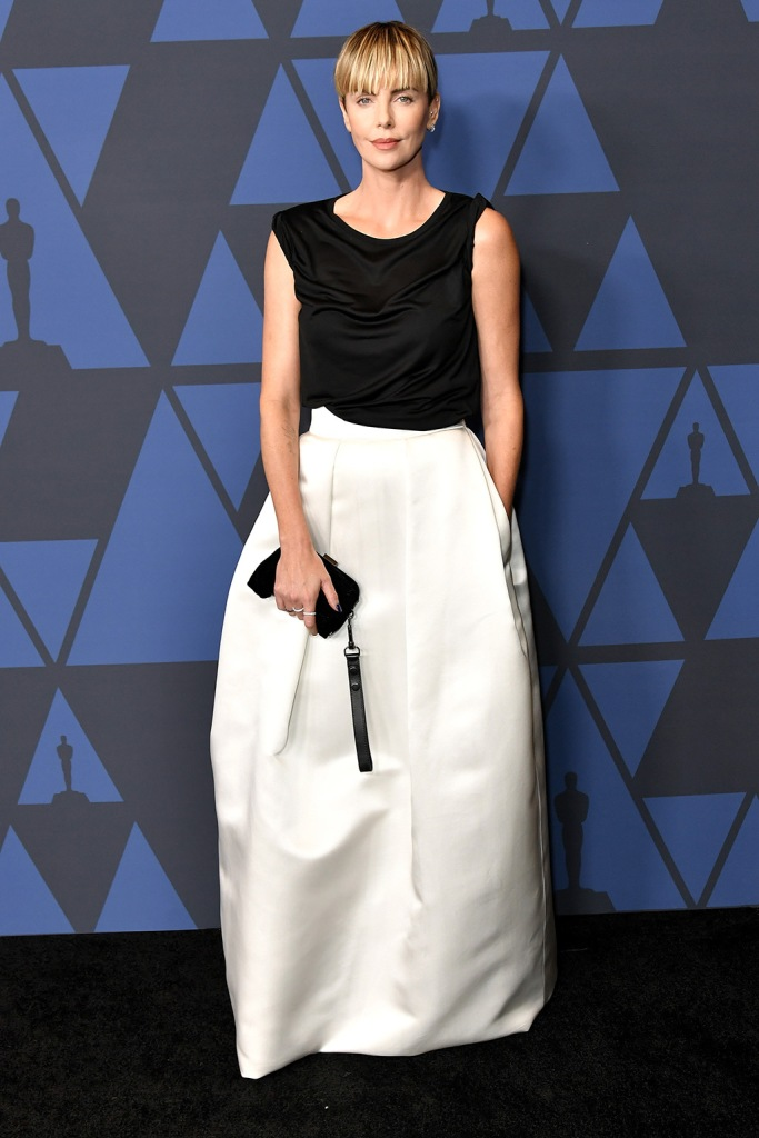 Charlize Theron, tom ford, black and white dress, Governors Awards, Arrivals, Dolby Theatre, Los Angeles, USA - 27 Oct 2019Wearing Tom Ford same outfit as catwalk model *10405273s