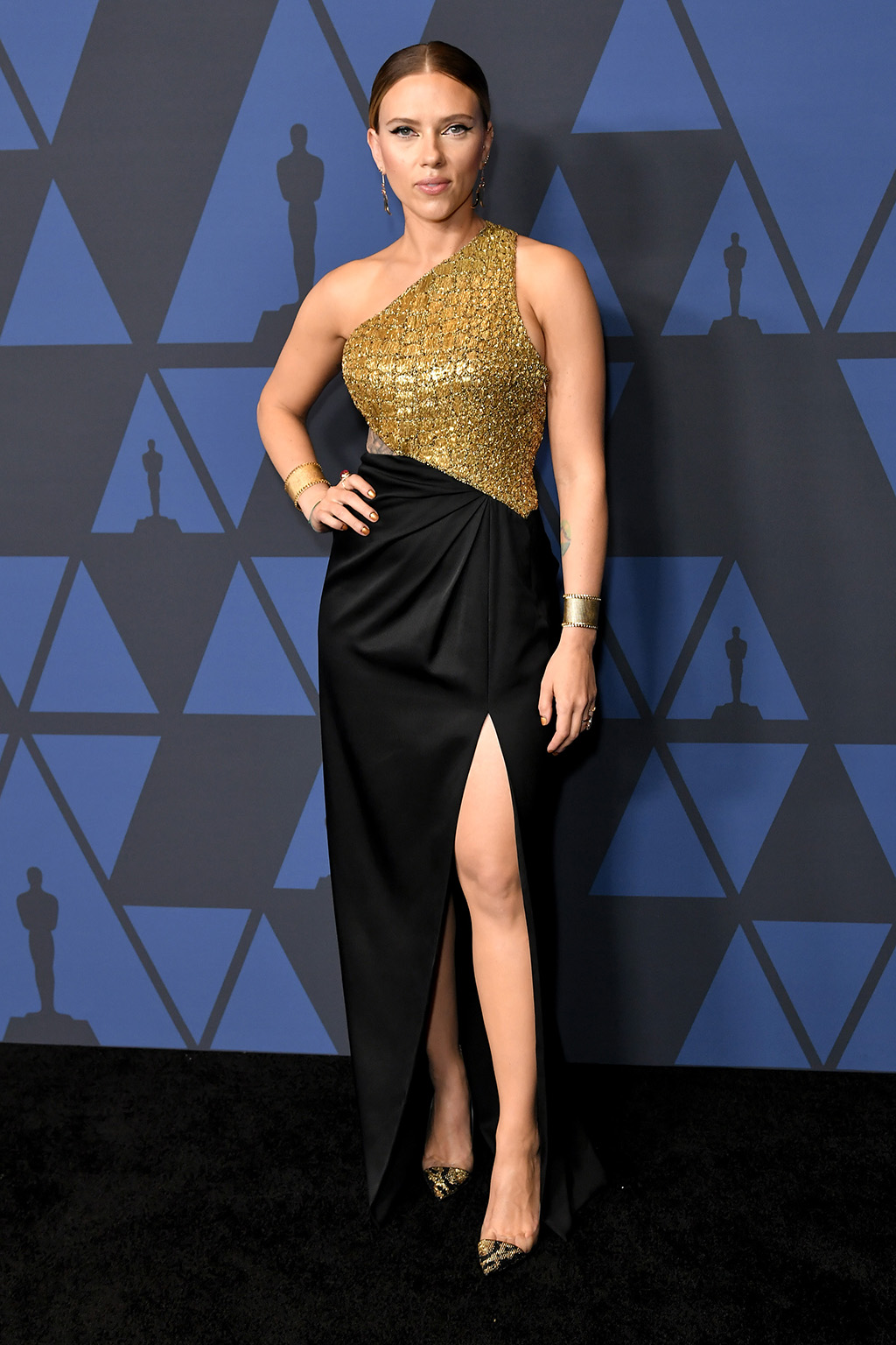 Scarlett Johansson, celine dress, black and gold gown, gianvito rossi shoes, gold pumps, Governors Awards, Arrivals, Dolby Theatre, Los Angeles, USA - 27 Oct 2019Wearing Celine