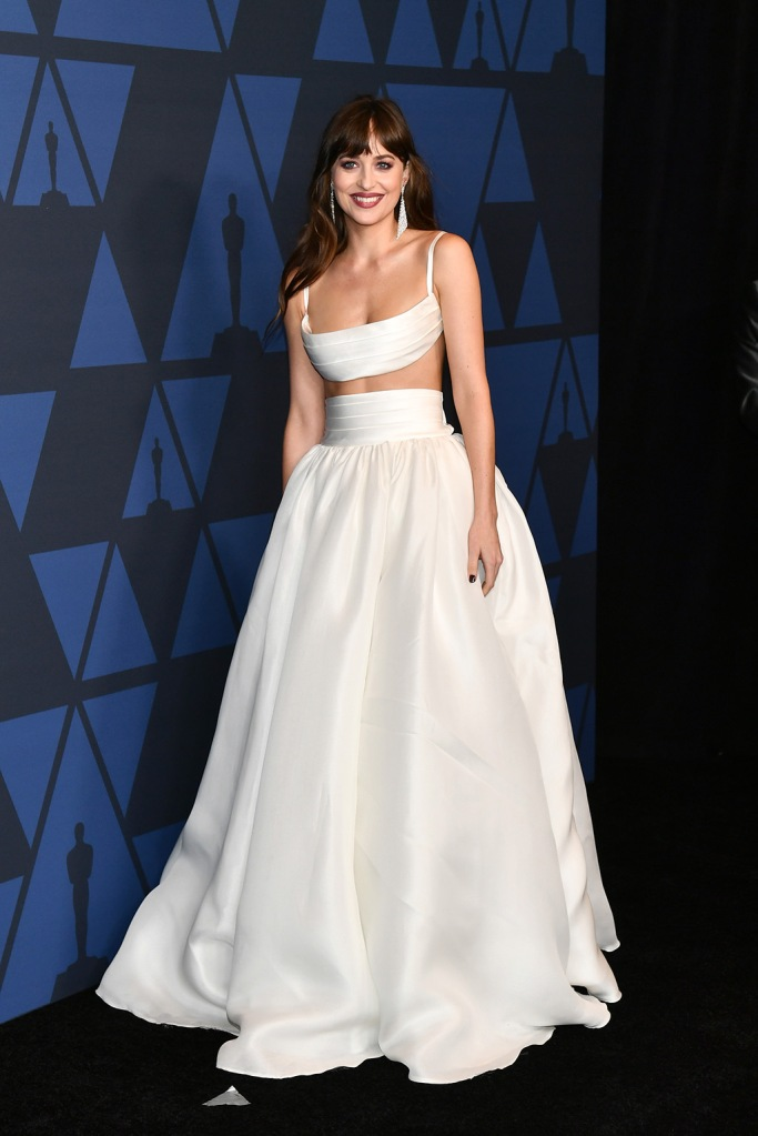 Dakota Johnson, brandon maxwell, abs, crop top, white dress, skirt, Governors Awards, Arrivals, Dolby Theatre, Los Angeles, USA - 27 Oct 2019Wearing Brandon Maxwell same outfit as catwalk model *10403744db