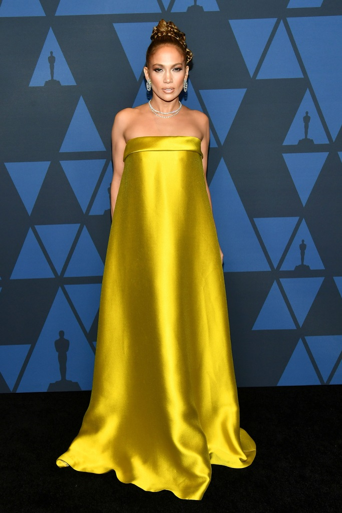 Jennifer Lopez, reem acra dress, gold gown, column gown, celebrity style, harry winston jewelry, updo, Governors Awards, Arrivals, Dolby Theatre, Los Angeles, USA - 27 Oct 2019Wearing Reem Acra