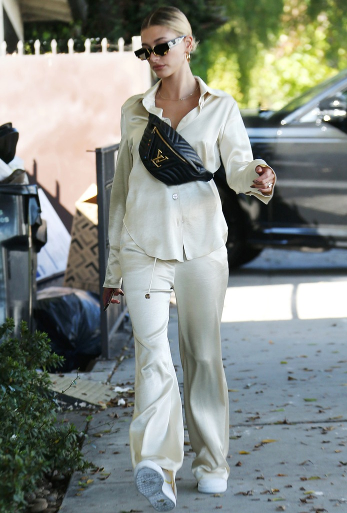 Hailey Baldwin, Jennifer fisher hoop earrings, Alexander wang sunglasses , celebrity style, street style, nanushka, pajamas, Adidas sneakers, Adidas continental, Louis Vuitton bum bag, Hailey BieberHailey Bieber out and about, Los Angeles, USA - 06 Oct 2019Hailey BieberHailey Bieber out and about, Los Angeles, USA - 06 Oct 2019