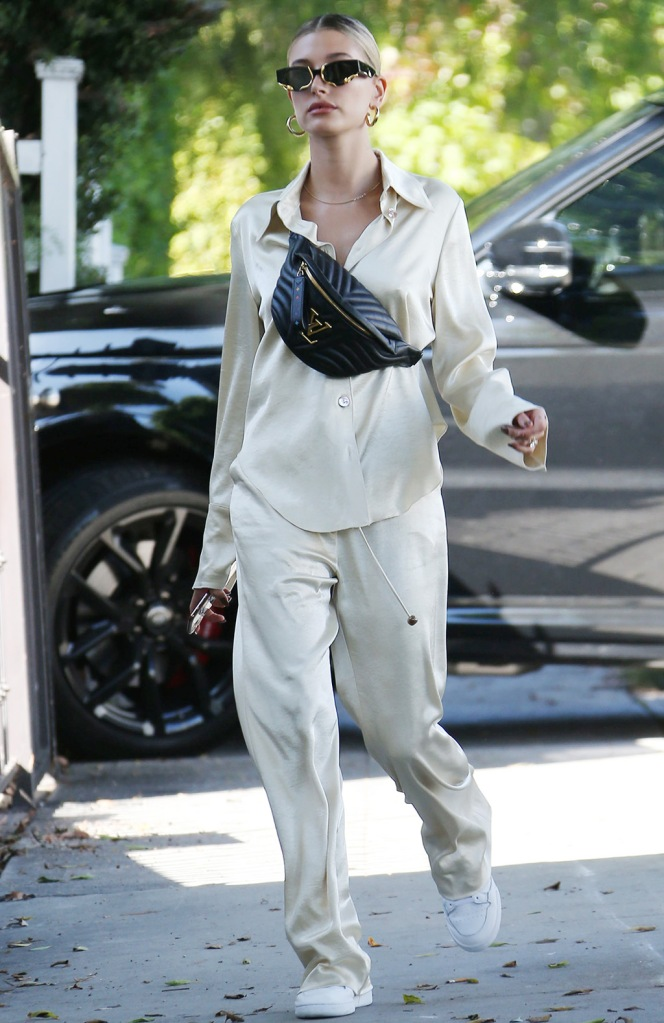 Hailey Baldwin, celebrity style, street style, nanushka, pajamas, Adidas sneakers, Adidas continental, Louis Vuitton bum bag, Hailey BieberHailey Bieber out and about, Los Angeles, USA - 06 Oct 2019