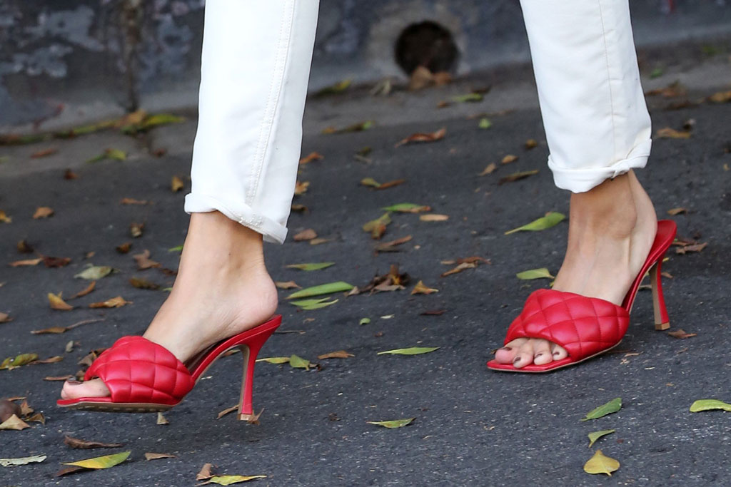 Hailey Baldwin, Hailey Bieber, red sandals, bottega veneta shoes, celebrity style, street style, Los Angeles, October 2019, pedicure
