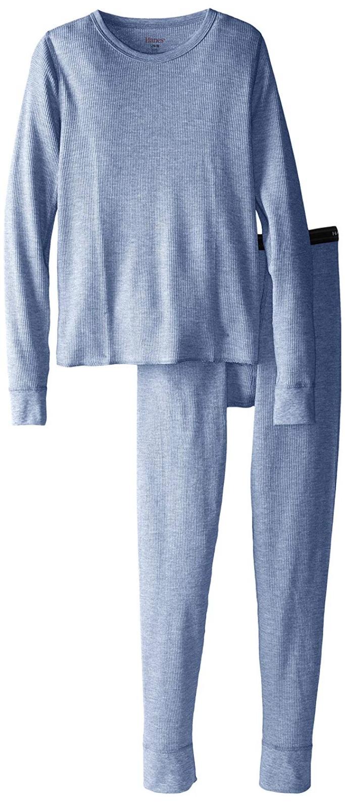 hanes big boys thermal underwear pajama set