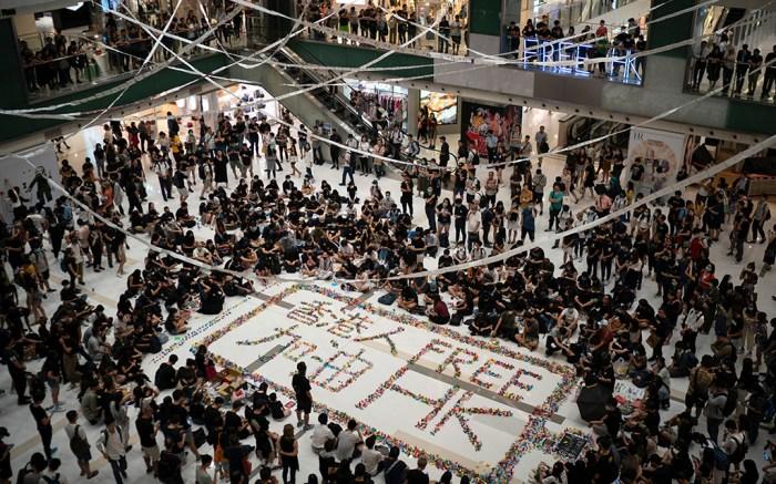 Protestors gather at a Hong Kong shopping mall