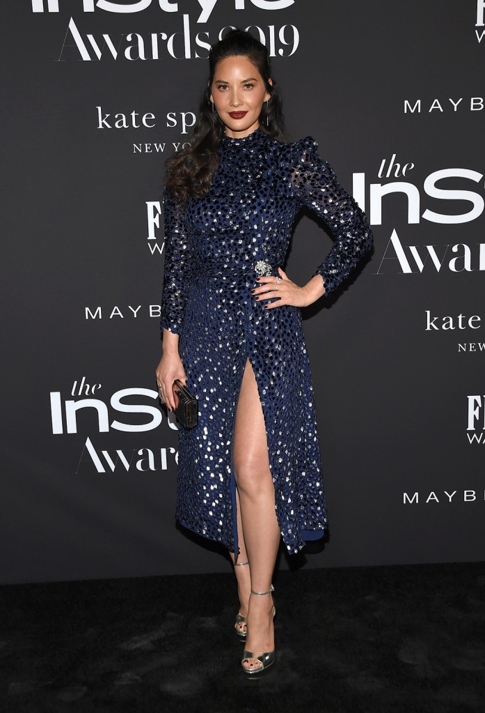Olivia Munn, kate spade dress, blue dress, jimmy choo shoes, silver sandals, 5th Annual InStyle Awards, Arrivals, The Getty Museum, Los Angeles, USA - 21 Oct 2019Wearing Kate Spade