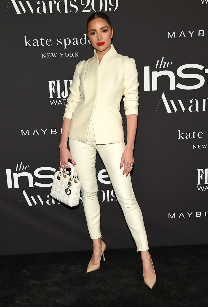 Olivia Culpo, dior, white pantsuit, tan pumps, white handbag, celebrity style, red carpet, 5th Annual InStyle Awards, Arrivals, The Getty Museum, Los Angeles, USA - 21 Oct 2019Wearing Dior