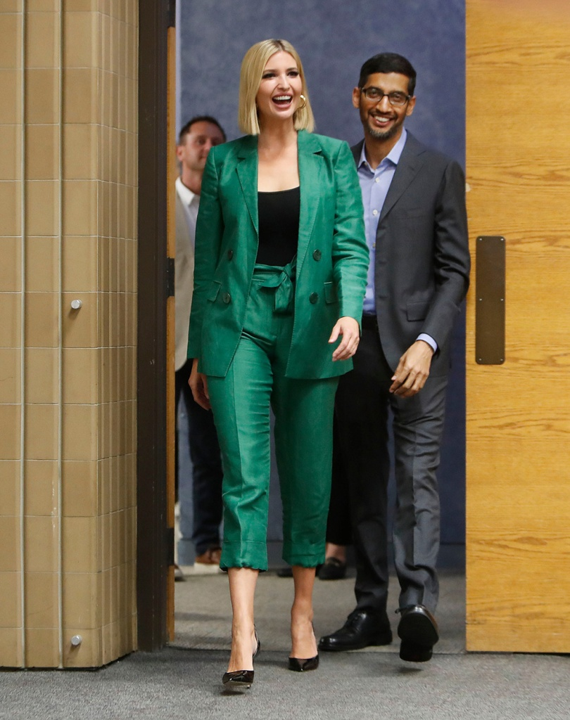 Ivanka trump, stilettos, classic black pumps, celebrity style, green pantsuit, White House senior adviser Ivanka Trump during a visit to El Centro College in DallasIvanka Trump Google, Dallas, USA - 03 Oct 2019Ivanka Trump, Sundar Pichai. White House senior adviser Ivanka Trump, left, arrives with Google CEO Sundar Pichai for a round table discussion at El Centro College in Dallas, . Pichai announced that Google is committing to a White House initiative designed to get private companies to expand job training for American workersIvanka Trump Google, Dallas, USA - 03 Oct 2019