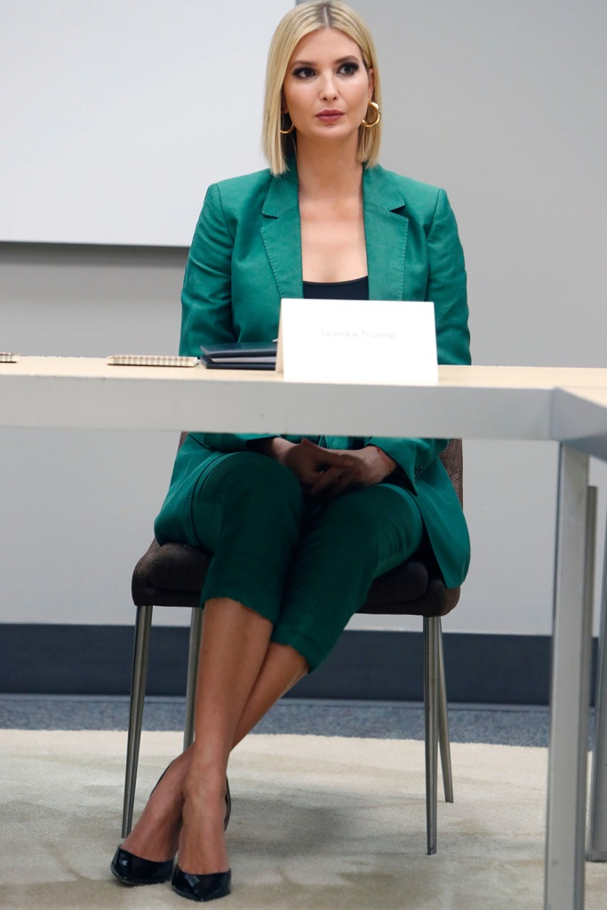 Ivanka trump, stilettos, classic black pumps, celebrity style, green pantsuit, White House senior adviser Ivanka Trump during a visit to El Centro College in DallasIvanka Trump Google, Dallas, USA - 03 Oct 2019