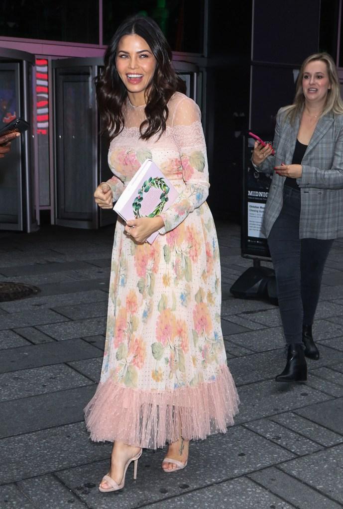 Jenna Dewan, floral dress, red valentino dress, giuseppe zanotti shoes, sandals, pale pink shoes, 'Strahan, Sara & Keke' TV show, New York, USA - 22 Oct 2019