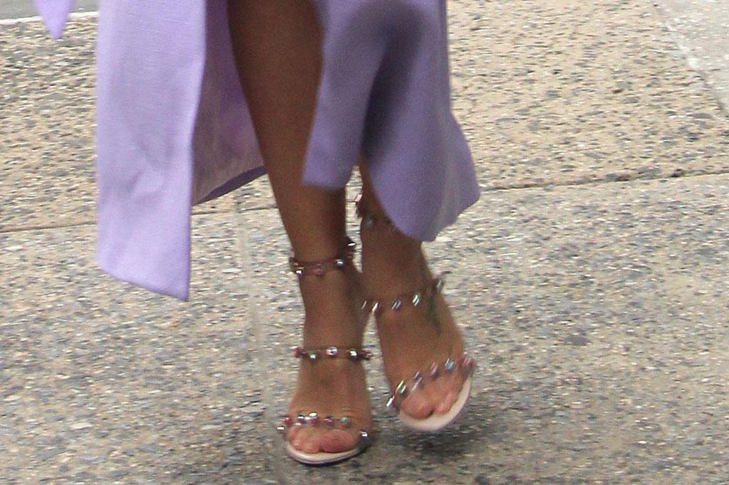 Jenna Dewan, pedicure, open-toed shoes, high heels, purple minidress, jacket, legs, celebrity style, sandals, feet, Build Speaker Series, New York, USA - 22 Oct 2019