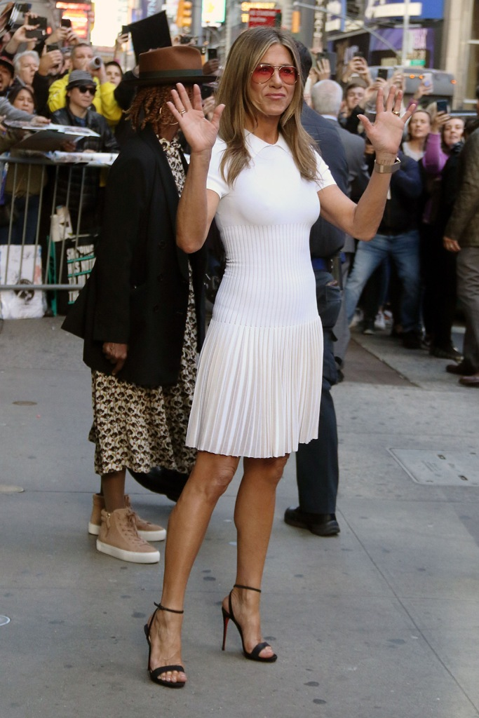 Jennifer Aniston, good morning america, sunglasses, white dress, celebrity style, nyc. christian louboutin shoes, sandals, Jennifer Aniston'Good Morning America' TV show, New York, USA - 28 Oct 2019